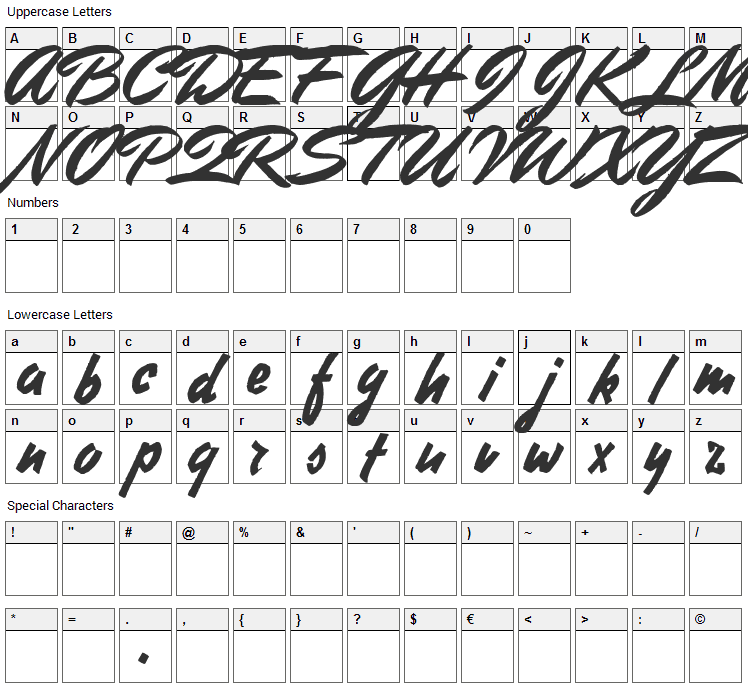 Stephens Heavy Writing Font Character Map
