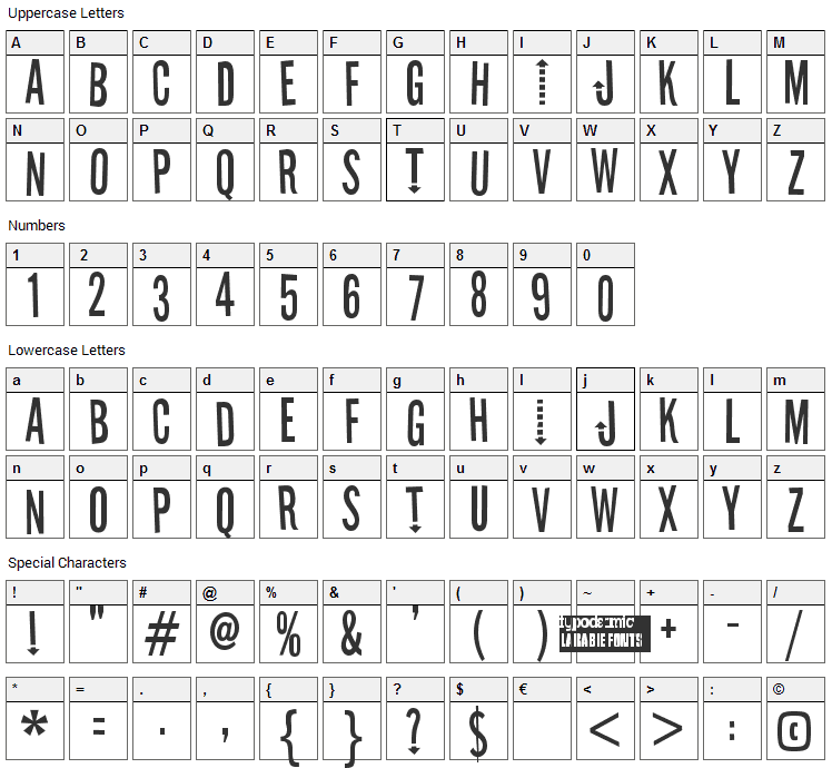 Stereofidelic Font Character Map