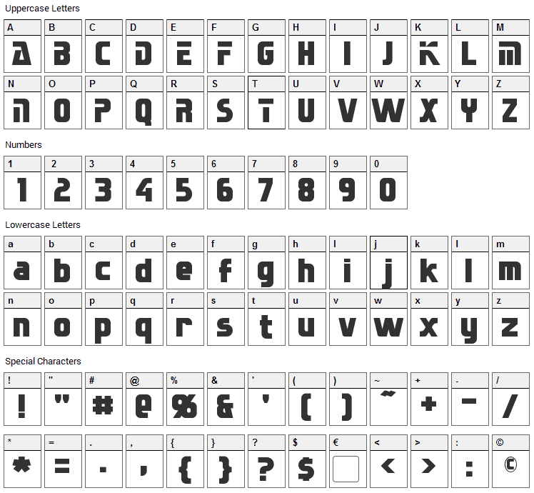 Sternbach Font Character Map