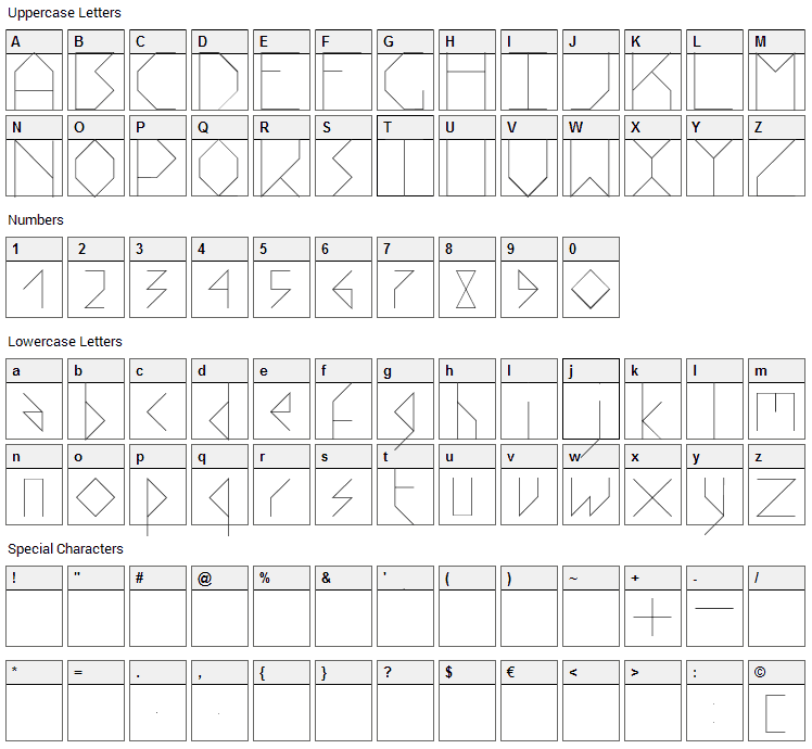 Stick Font Character Map