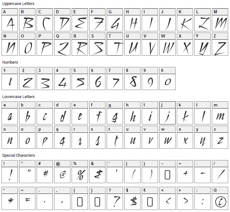 Still Time Font Character Map