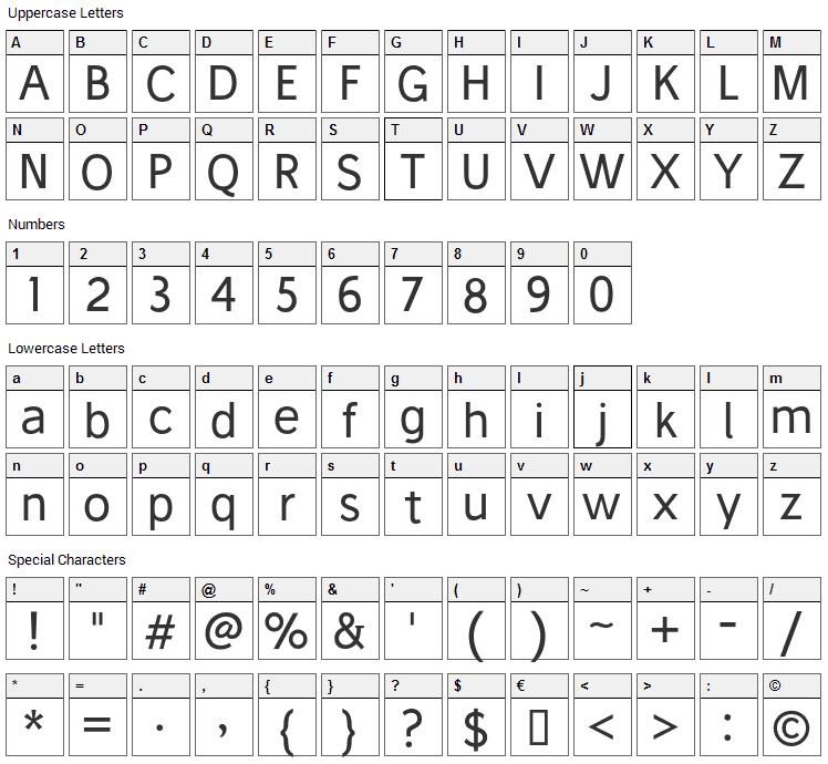 Stilu Font Character Map