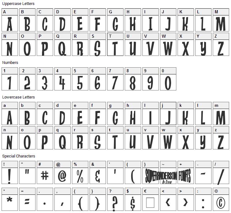 Stingray Font Character Map