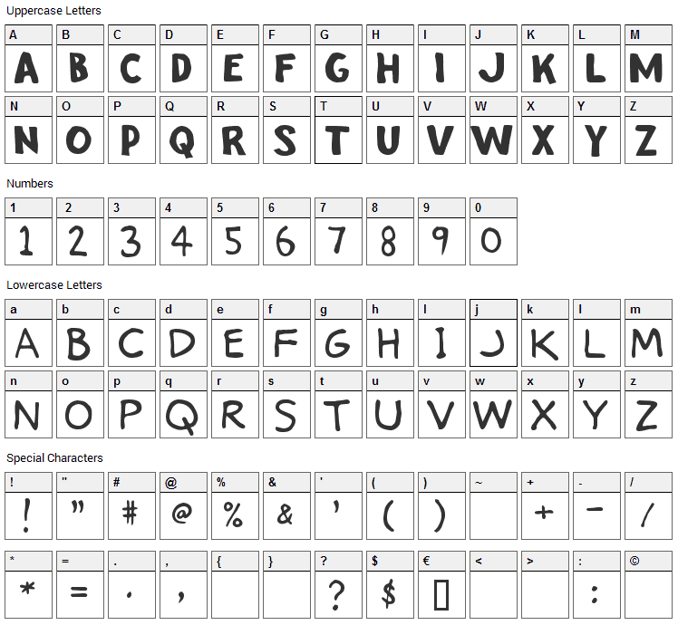 Stinky Kitty Font Character Map