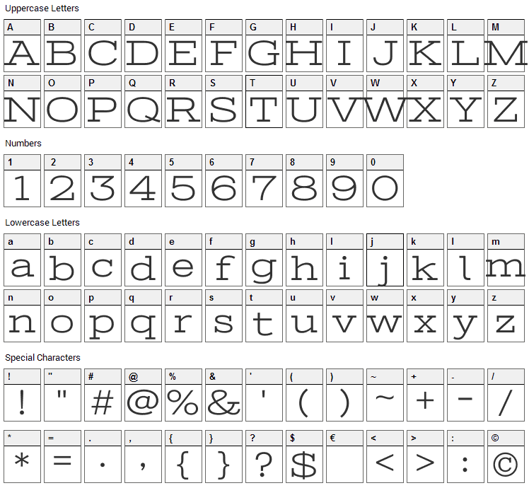 Stint Ultra Expanded Font Character Map