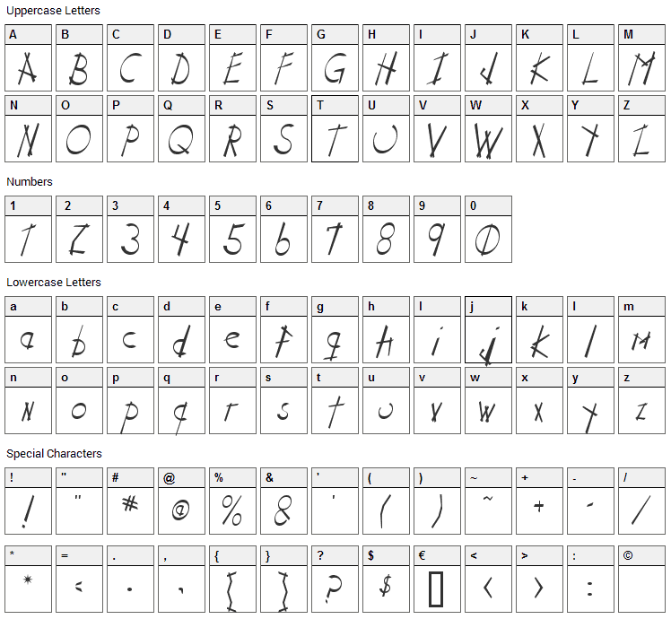 Stix n Stonz Font Character Map