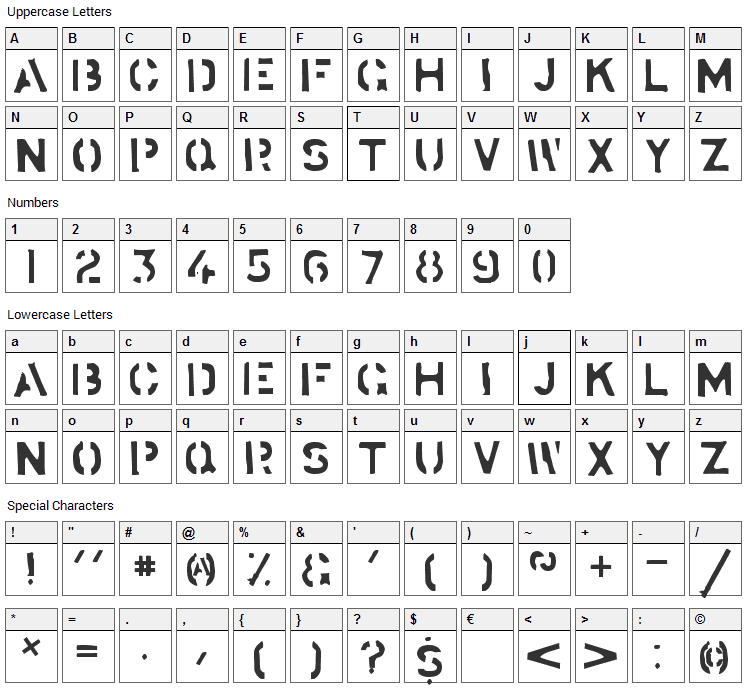 Stockstill Font Character Map
