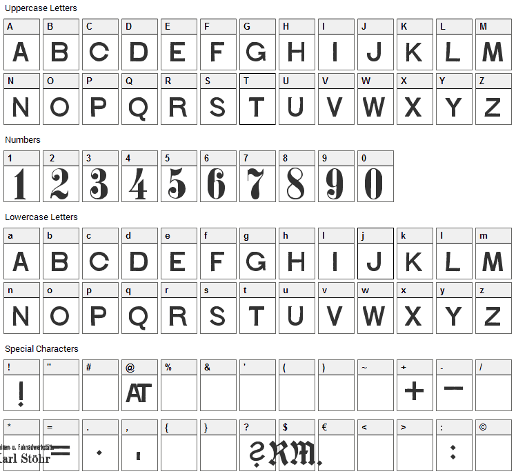 Stohr Numbers Font Character Map