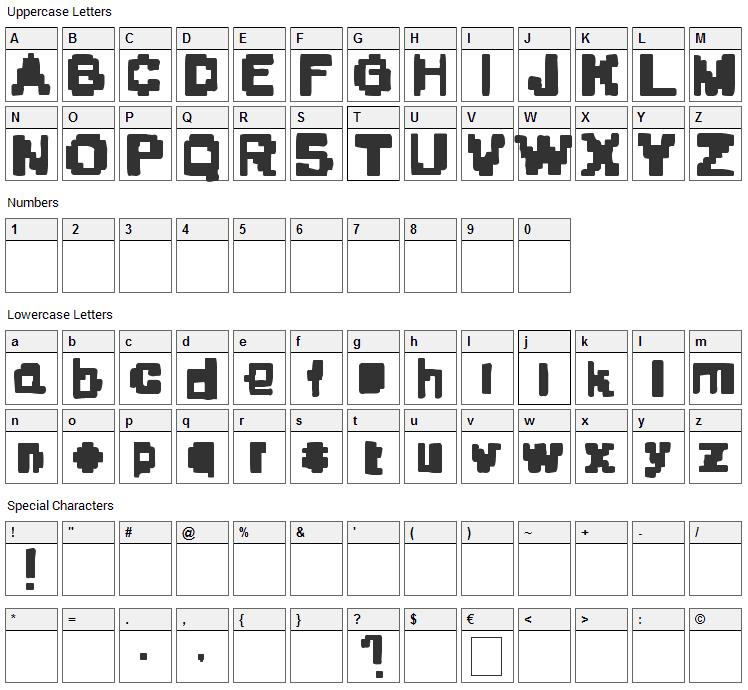 Stone Era Pixels Font Character Map