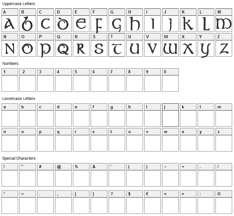 Stonecross Font Character Map