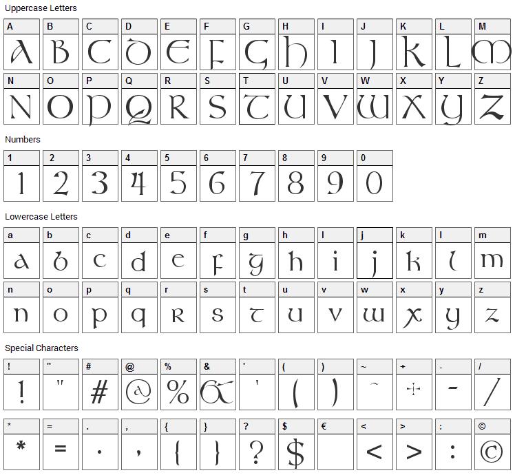 Stonehenge Font Character Map