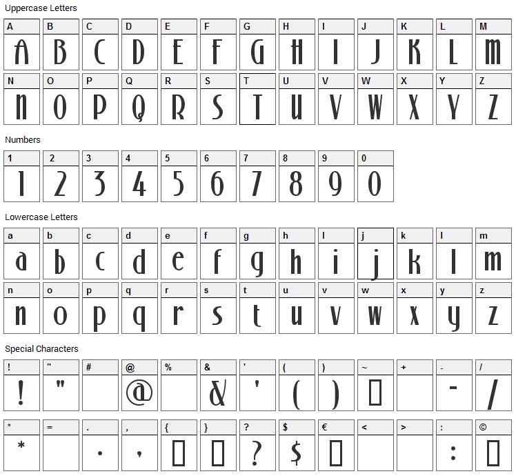 Stony Island Font Character Map