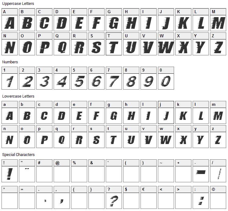 Storm Font Character Map