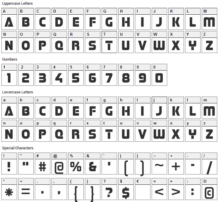 Stormfaze Font Character Map
