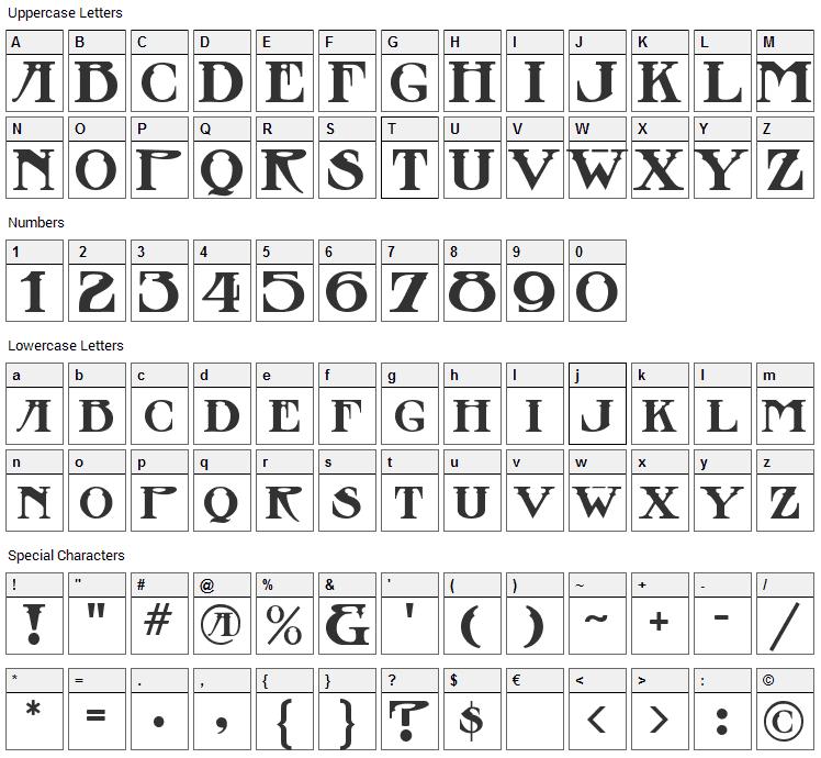 Stowaway Font Character Map