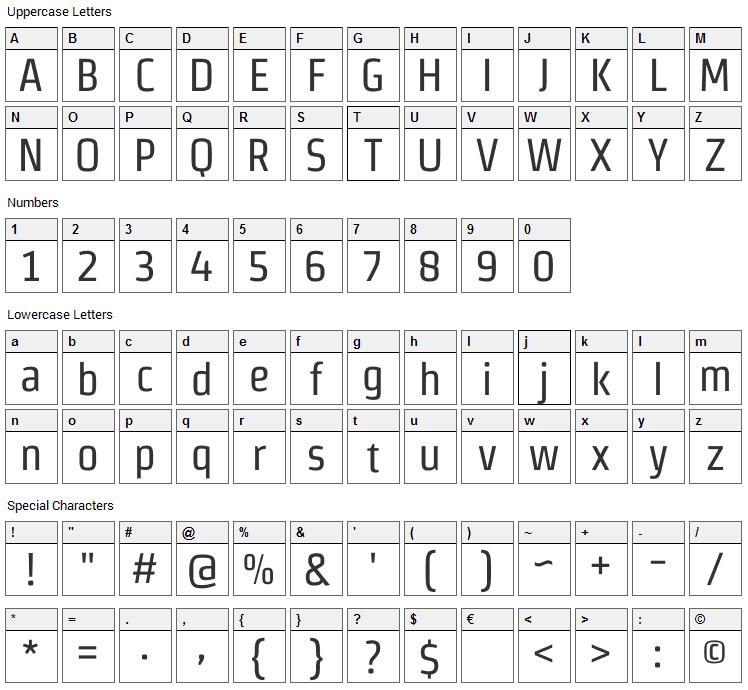 Strait Font Character Map
