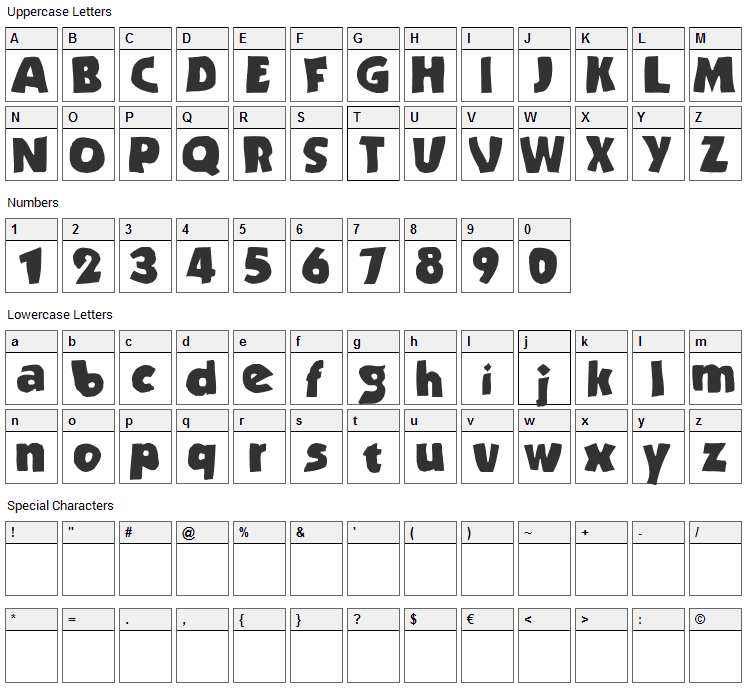 Stranded Font Character Map