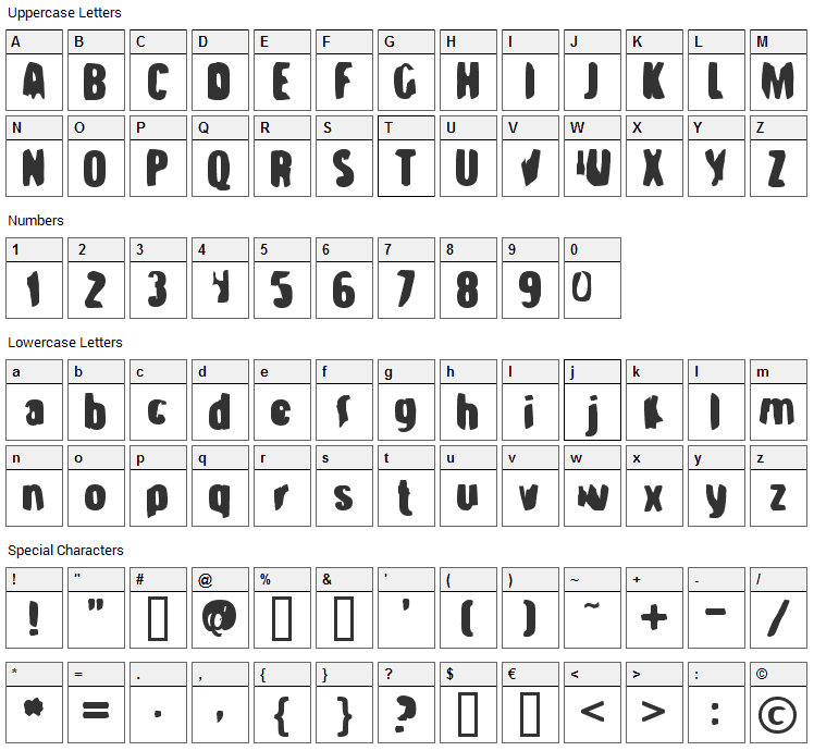 Strange Brew Font Character Map