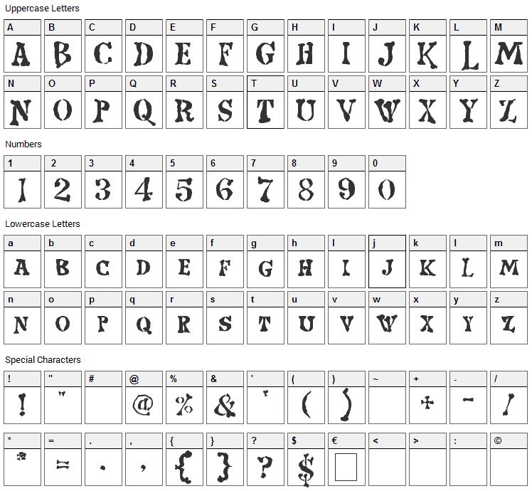 Strange World Font Character Map