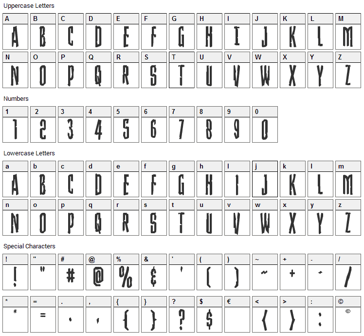 Stranger Danger Font Character Map