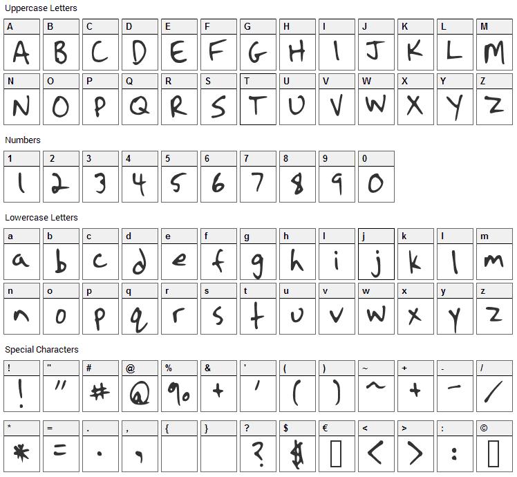 Strassman Script Font Character Map
