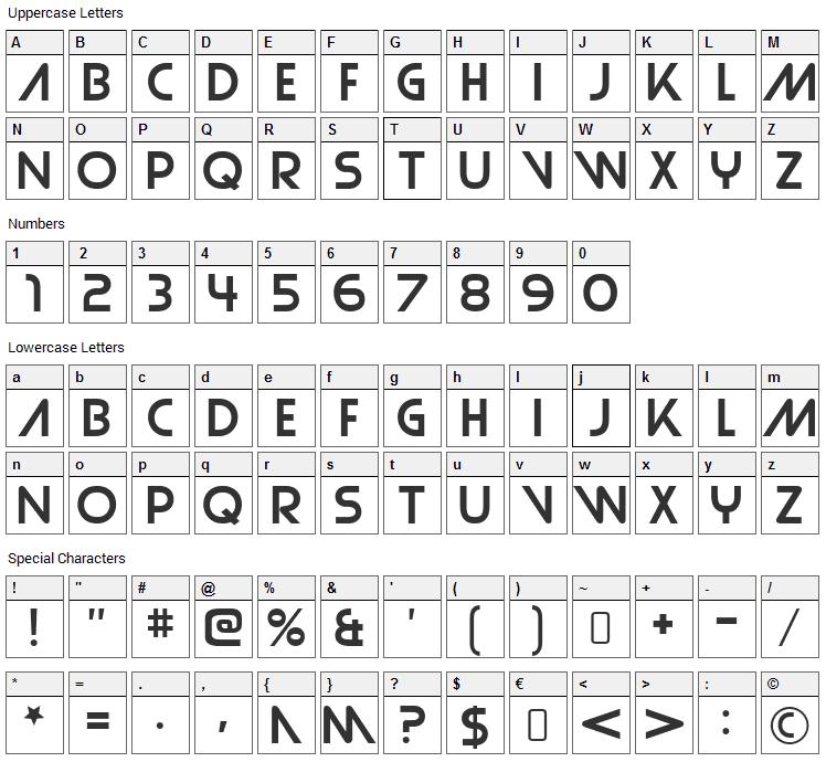 Strasua Font Character Map
