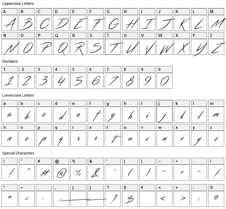 Streamster Font Character Map