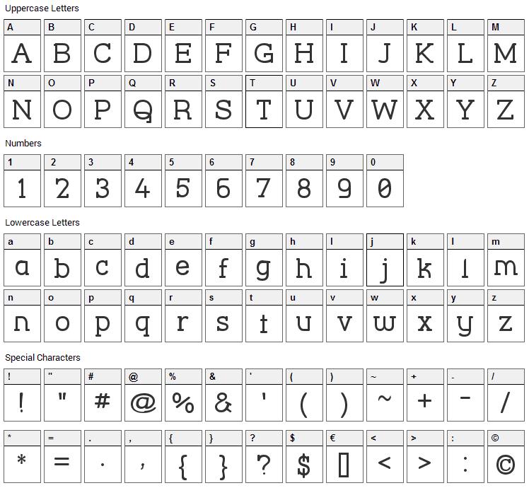 Street Corner Slab Font Character Map