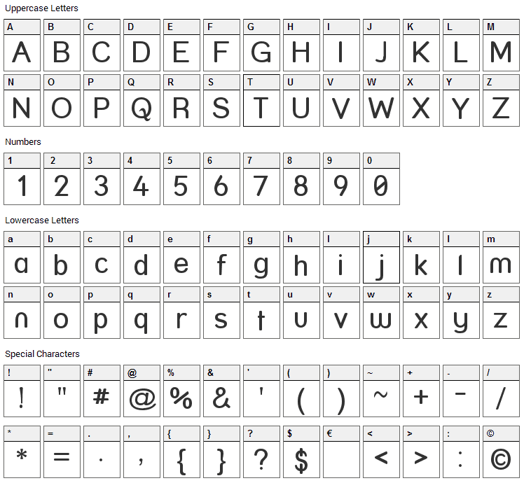 Street Font Character Map