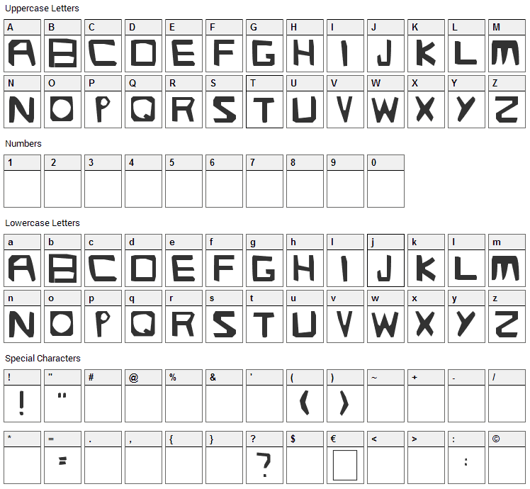 Streetlight Font Character Map