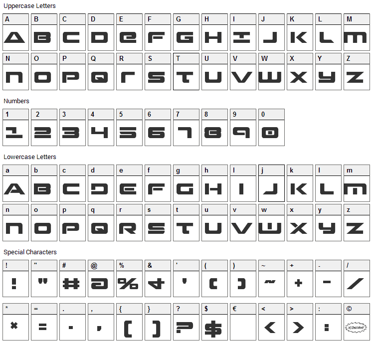 Strikelord Font Character Map