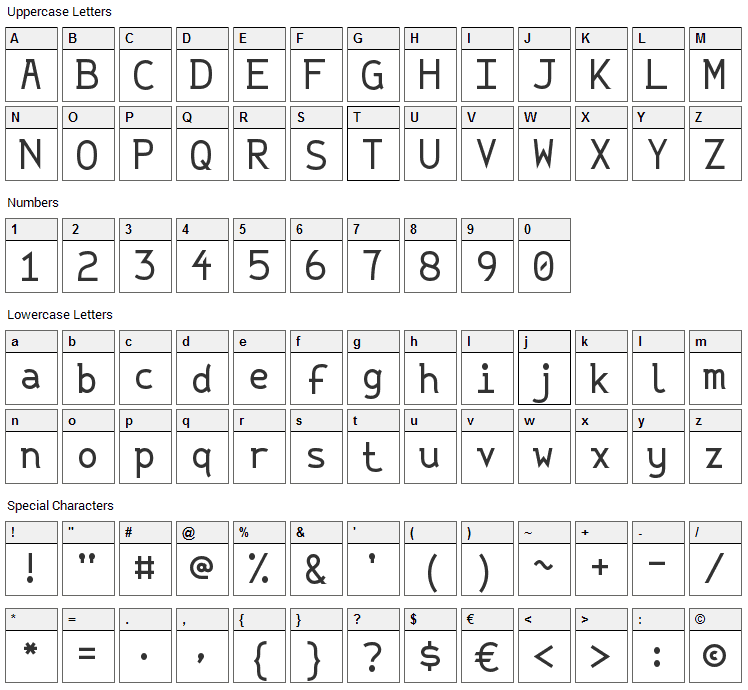 String Literal Font Character Map