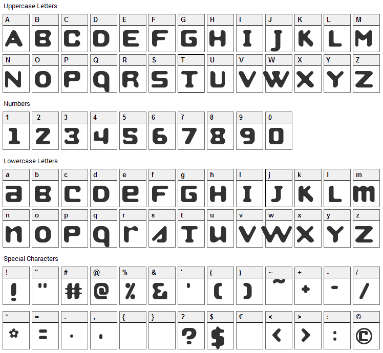 Strobo Font Character Map