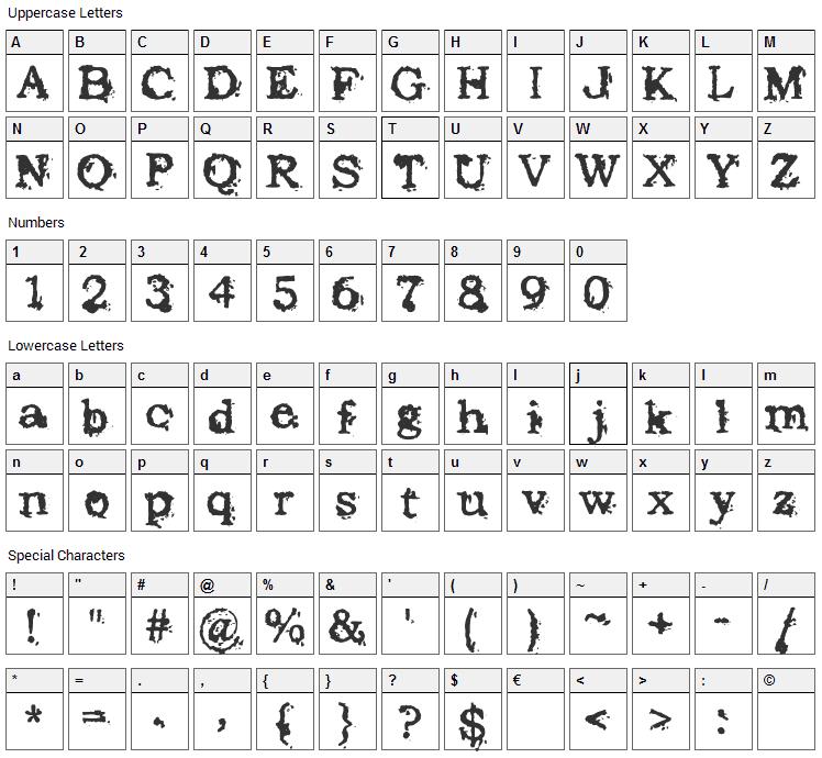Struck Dead Font Character Map