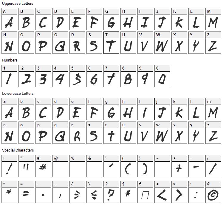 Stubborn Heartz Font Character Map