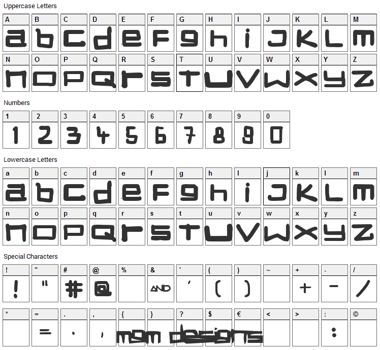 Stuck Font Character Map