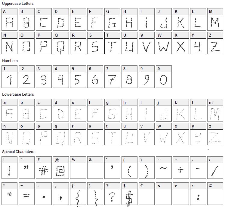 Stutter Font Character Map