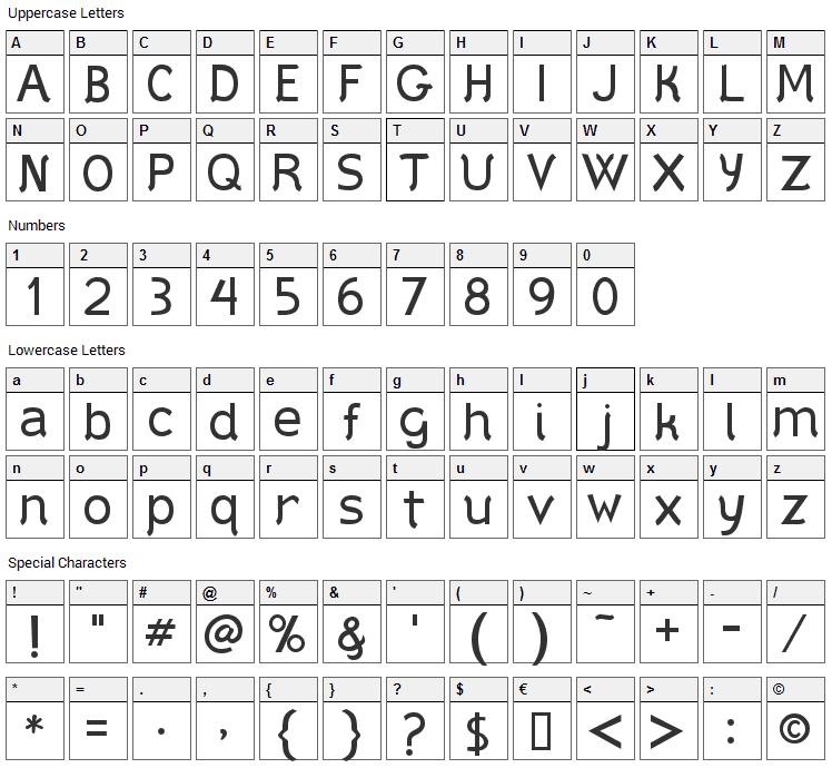 Styllo Font Character Map