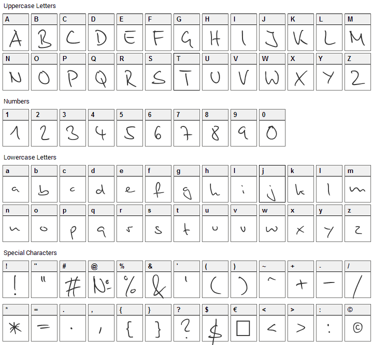 Stylograph Font Character Map