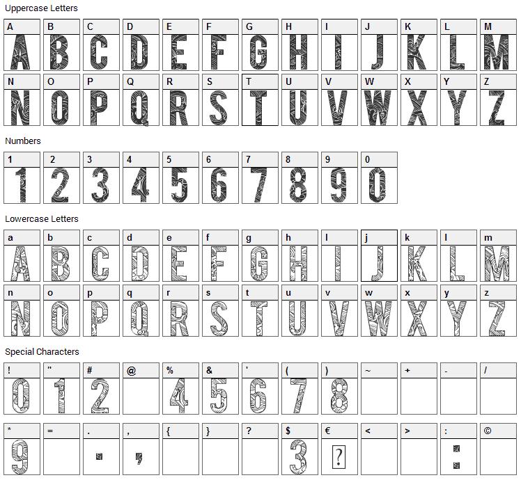 Suast Ornad Font Character Map