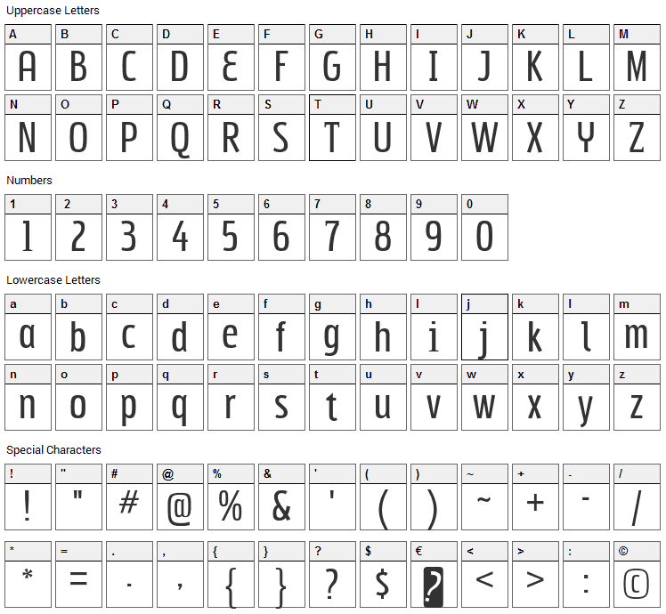 Subpear Font Character Map