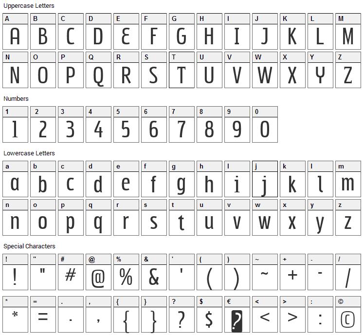 Subpear Font Character Map