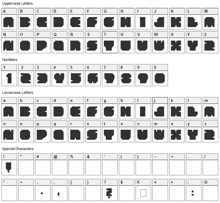 Subtract Font Character Map