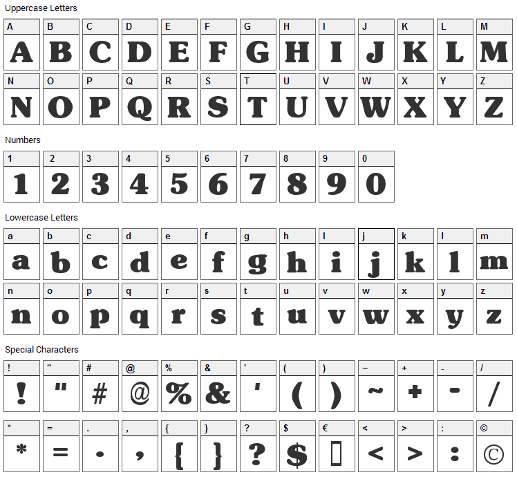 Subway DS Font Character Map