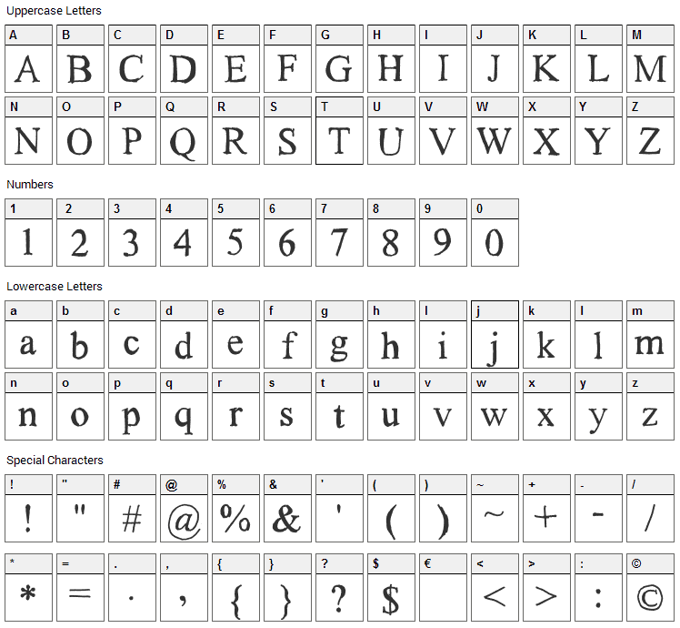 Subway Haze Font Character Map