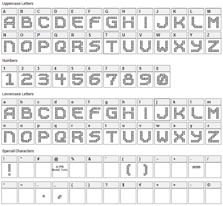 Sucaba Font Character Map