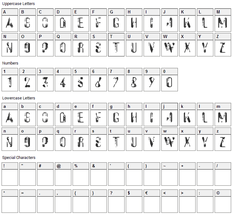 Sucata Spacial Font Character Map