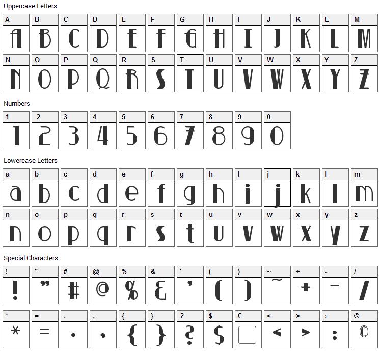Suchet Font Character Map