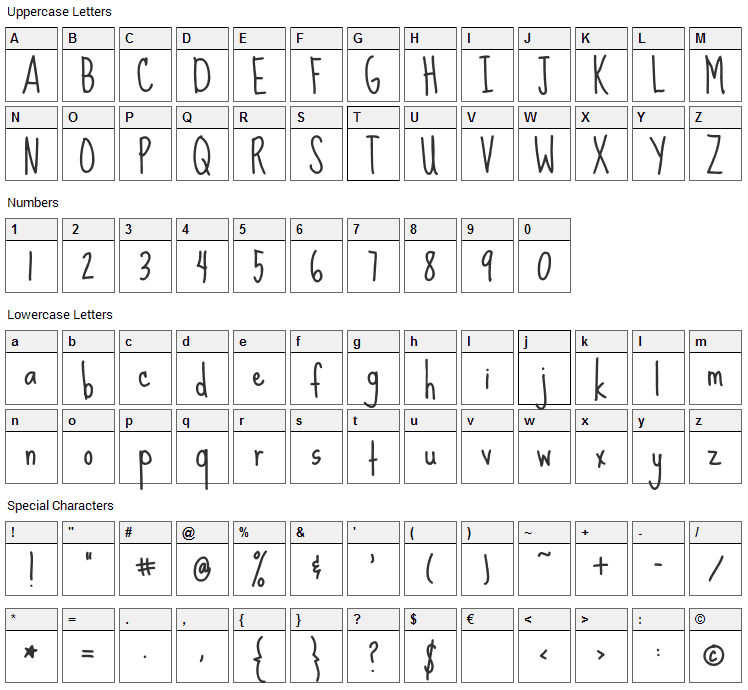Sue Ellen Francisco Font Character Map