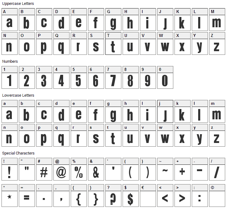 Suede Font Character Map